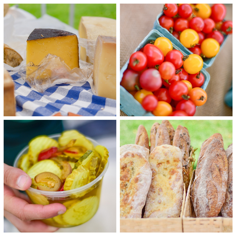 Market pickles, bread, cheese, and produce